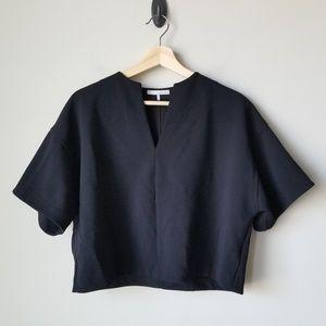 Oak + Fort Structured Crop Short Sleeve Blouse